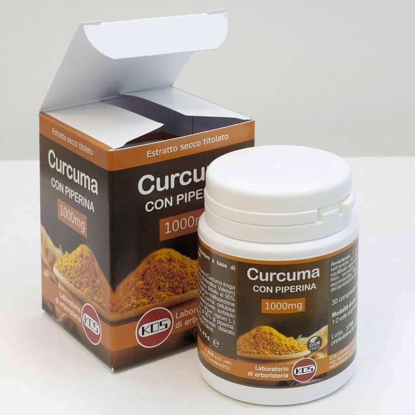 Curcuma E Piperina Forte 30 Compresse Da 1000mg Kos